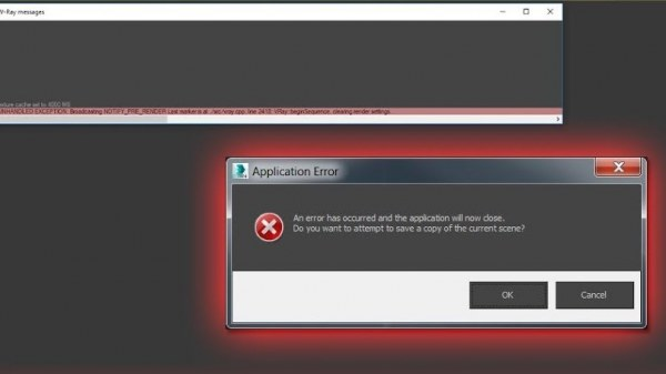 Bị thông báo lỗi UNHANDLED EXCEPTION trên Vray Message, render bị văng