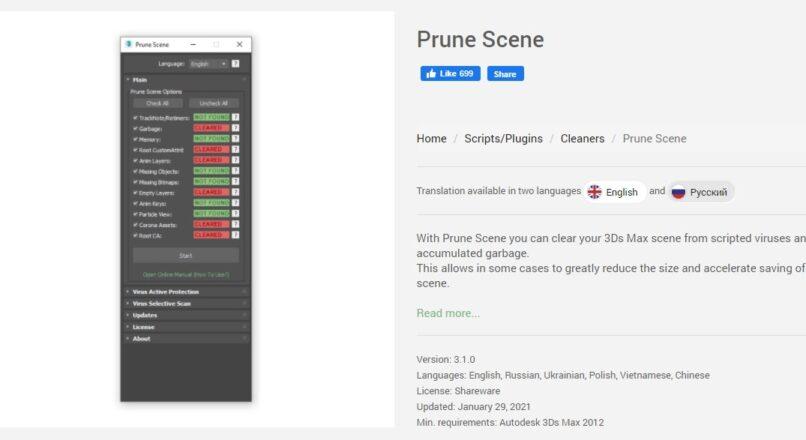 Cập Nhật Prune Scene 3.1.0 Diệt Virus Mới Nhất Cho 3dsMax